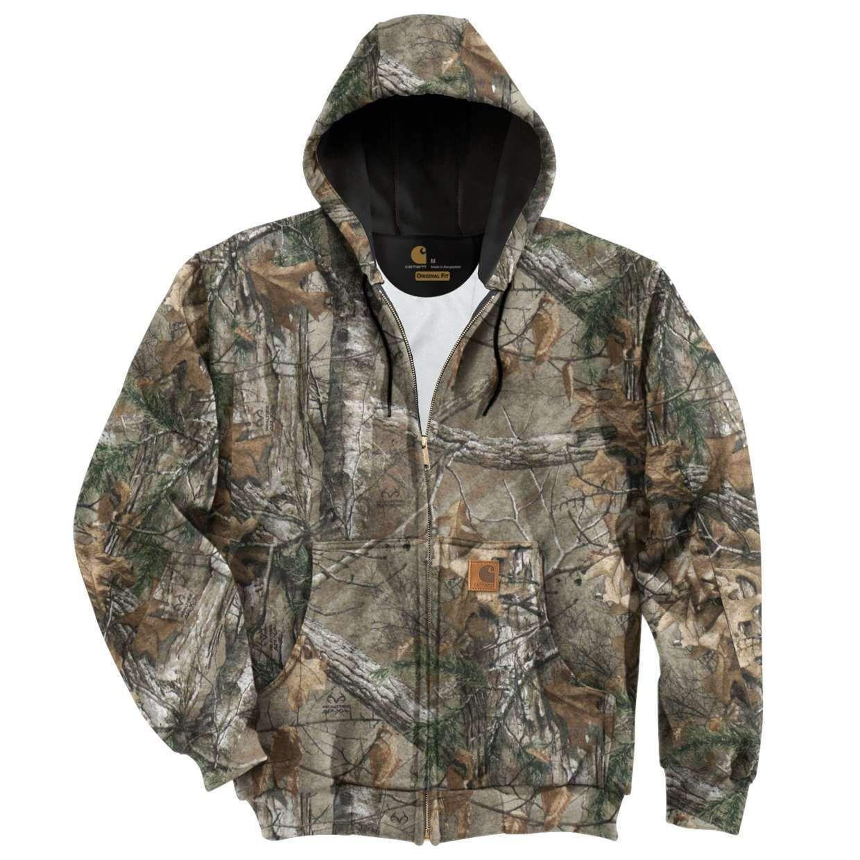 33e547bb Carhartt Men's Midweight Camo Hooded Zip-Front Sweatshirt K289 Realtree Xtra