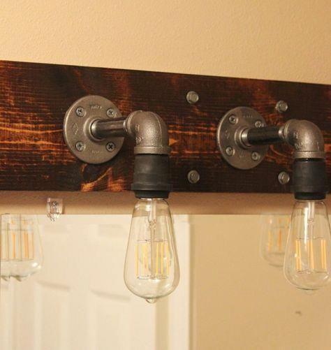 Photo of DIY industrial bathroom lights