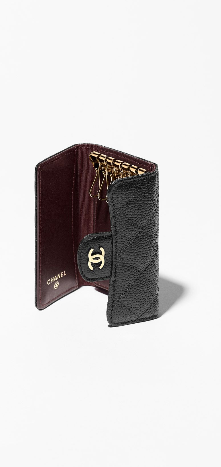 chanel key holder // grained calfskin & gold metal-black ...
