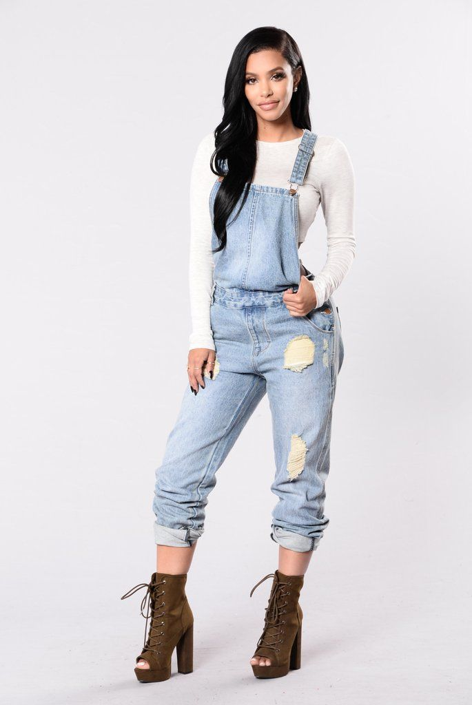 f06315c5238 Available in Medium Wash - Boyfriend Overall - 4-Pocket Design - Denim -  Distressed Detail - 100% Cotton. Young Lust Jumpsuit ...
