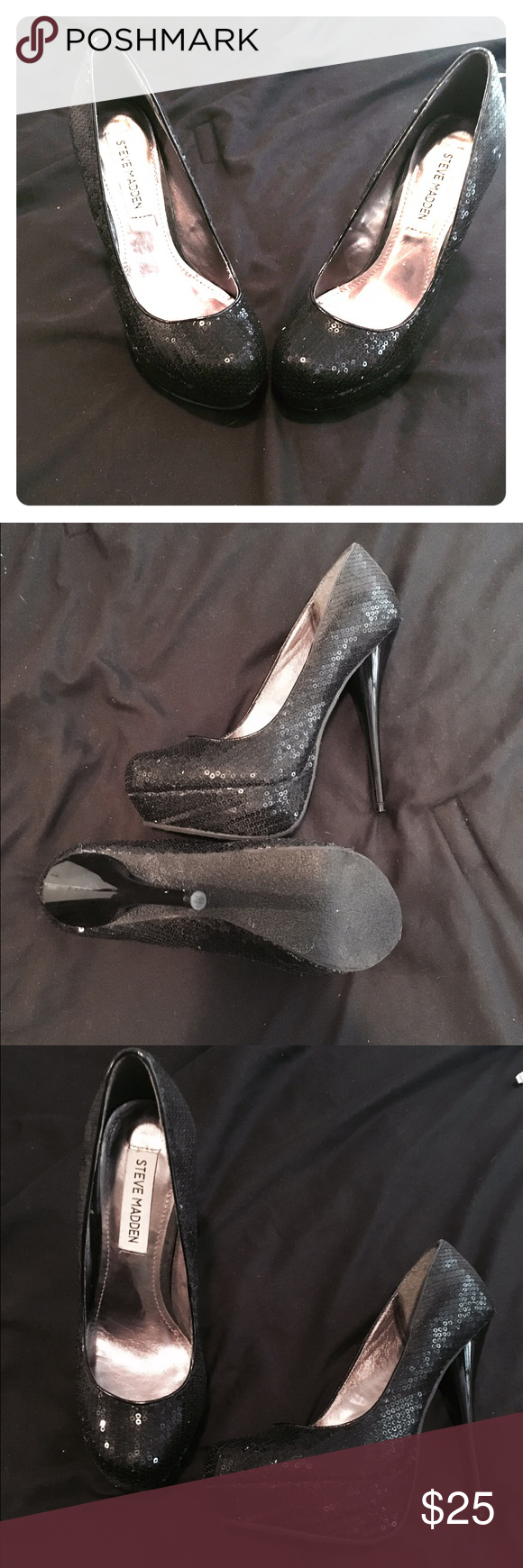 New Steve Madden Black Sequined Pump 6.5 New Steve Madden Black Sequined Pump 6.5. I don't have the original box but item was never worn. I have provided pic of shoe sole to show no wear. Steve Madden Shoes Heels