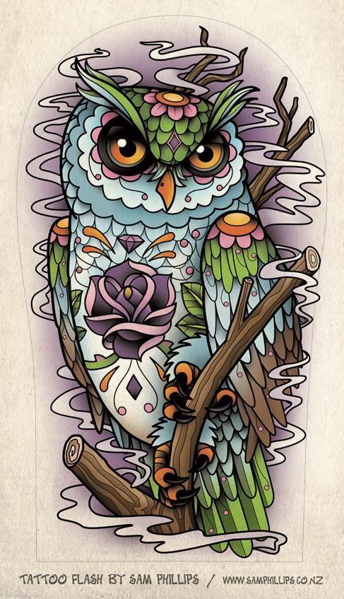 This is unique! I love it, it's a retro sugar skull owl. :)