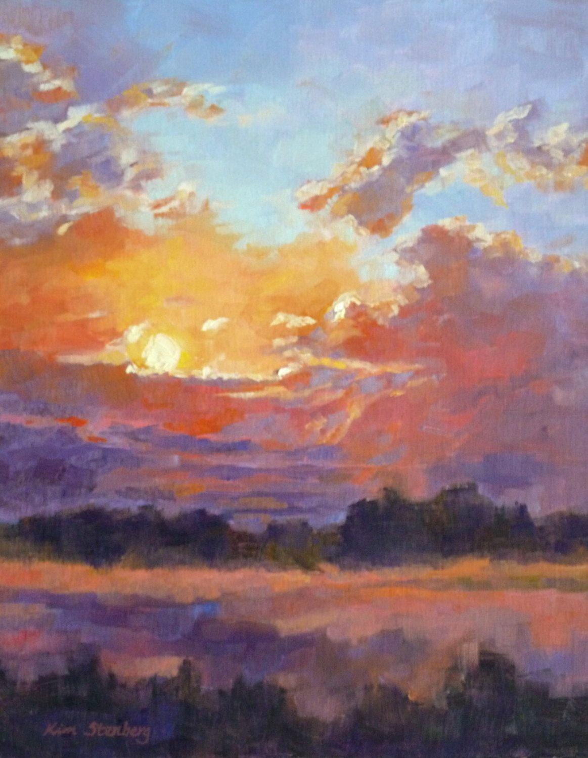 Sunset Spectacular Sunset Painting Oil Painting Landscape