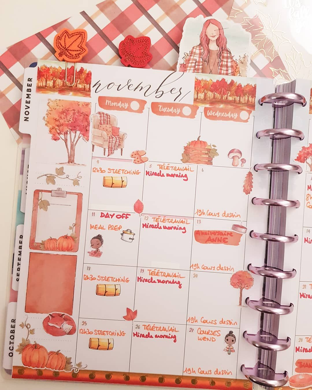 "Shireece Planner【Audrey】 on Instagram: ""Hello november! Monthly view in my happy planner with the amazing Forest Falls kit. Happy monday to everybody! . . . #happyplanner…"""