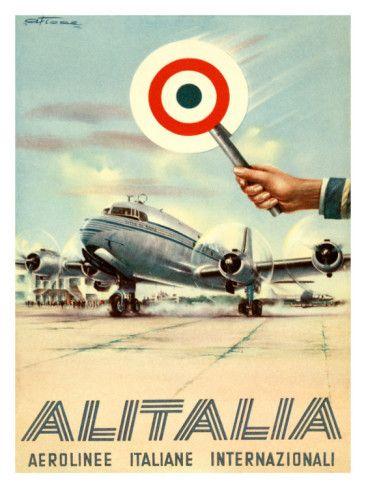 Alitalia Italian International Airline Vintage Luggage Label Aerolinee Italiane
