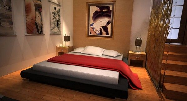 intérieur chic de conception de chambre japonaise moderne | chambre ...