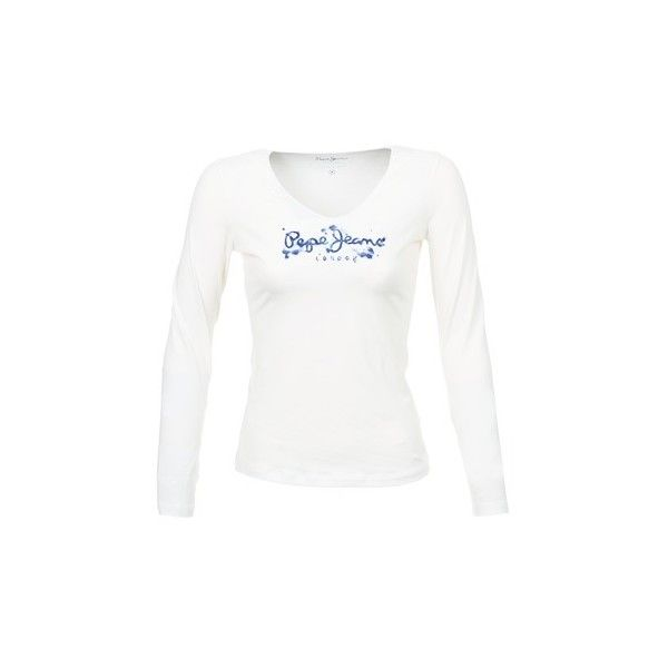 Pepe jeans SHAEN Long Sleeve T-shirt ($52) ❤ liked on Polyvore featuring tops, t-shirts, long sleeves, shirts, white, women, white long sleeve t shirt, shirts & tops, long sleeve white tee and longsleeve tee