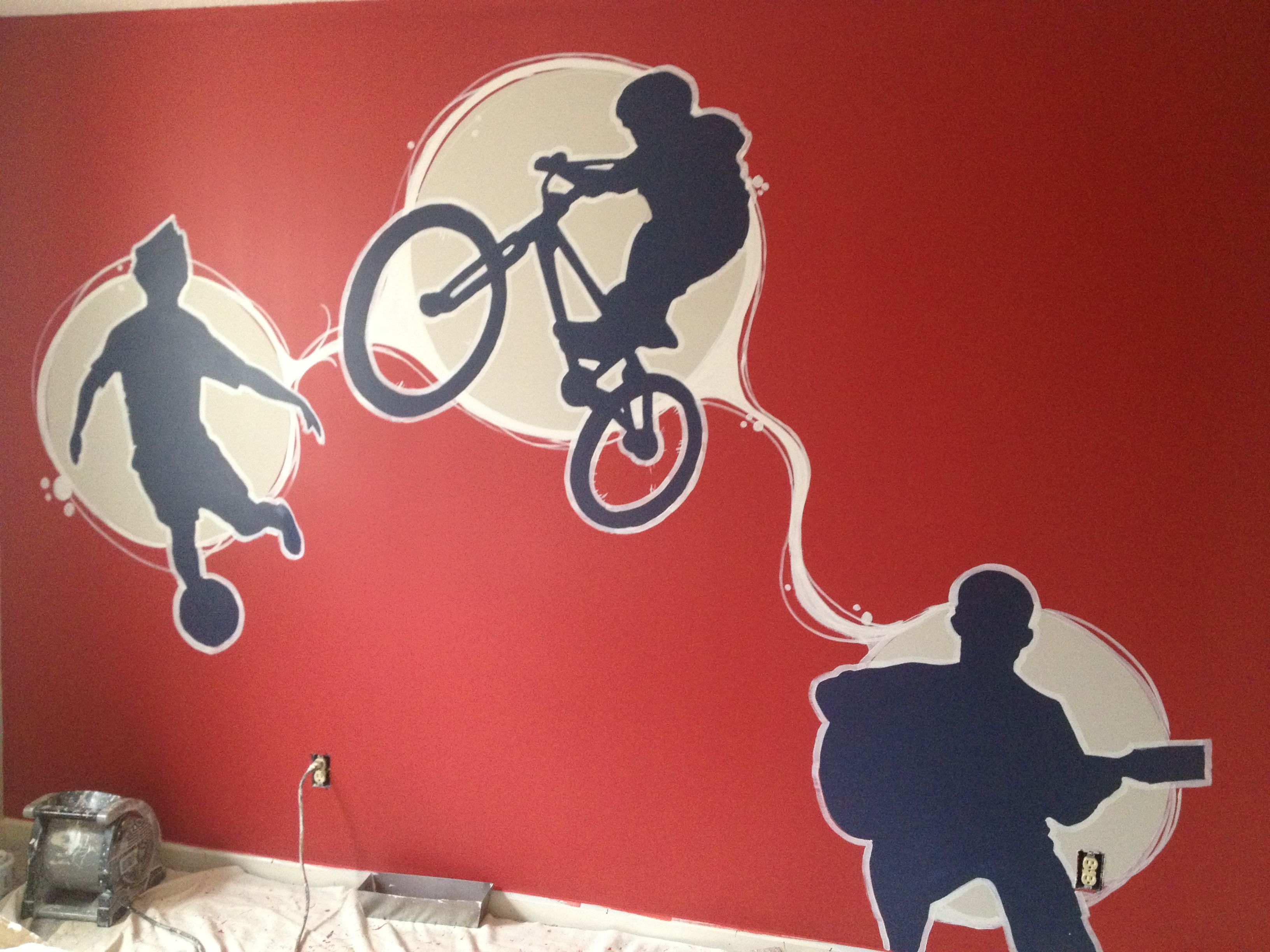 99 best kids bedroom ideas images on pinterest bedroom ideas boys sports mural this kids bedroom idea was inspired by the sports he played so dirt bike