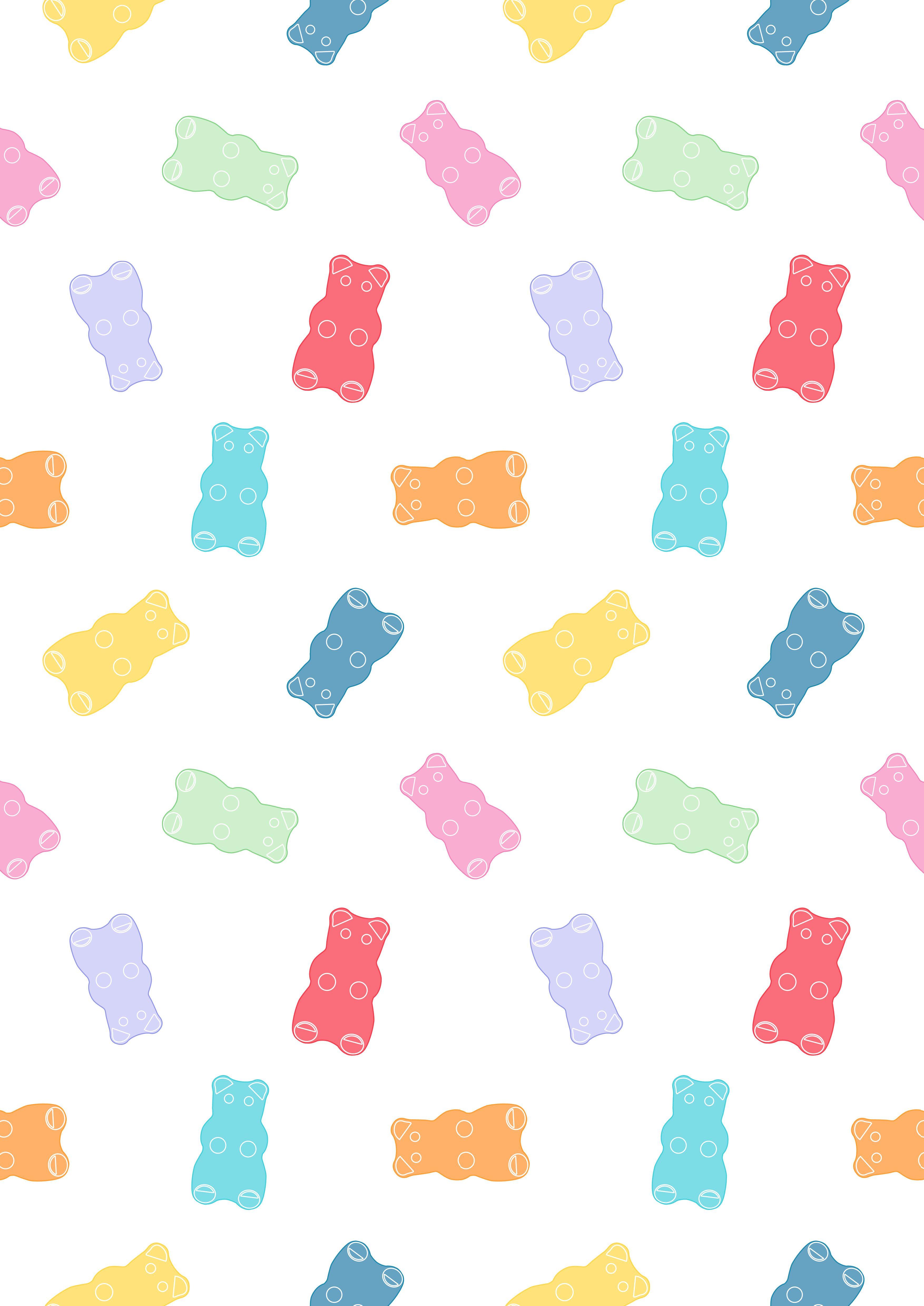 Gummy Bear Pattern Repeat สม ดออร แกไนเซอร วอลเปเปอร ด สน ย