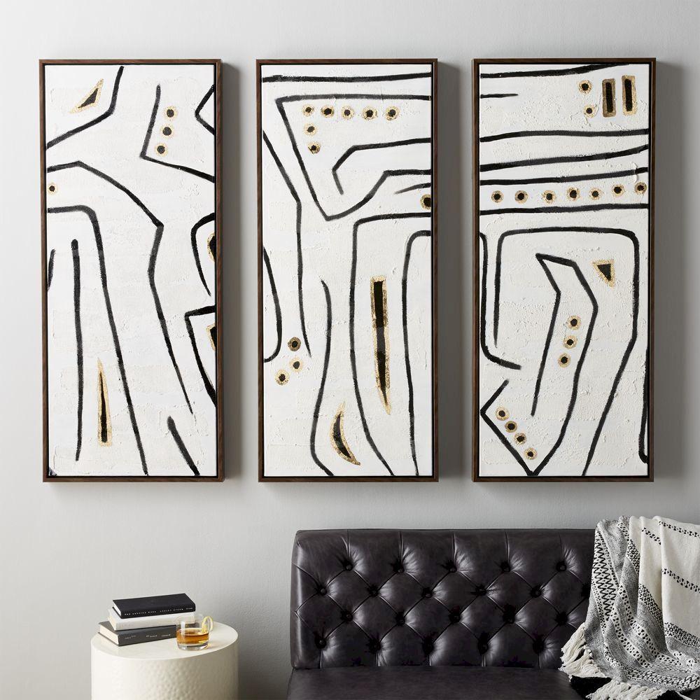 Cb2 february catalog 2018 ants on a log paintings set of