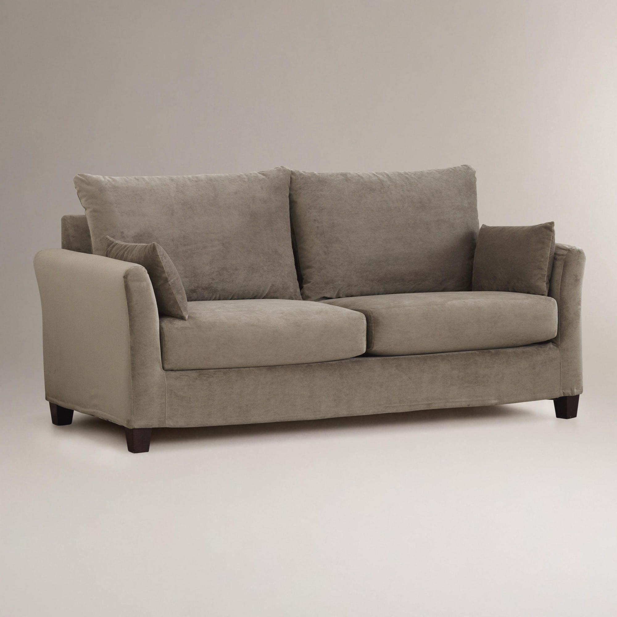 Astounding Soft Grey Mink Velvet Luxe Sofa Slipcover World Market Gmtry Best Dining Table And Chair Ideas Images Gmtryco