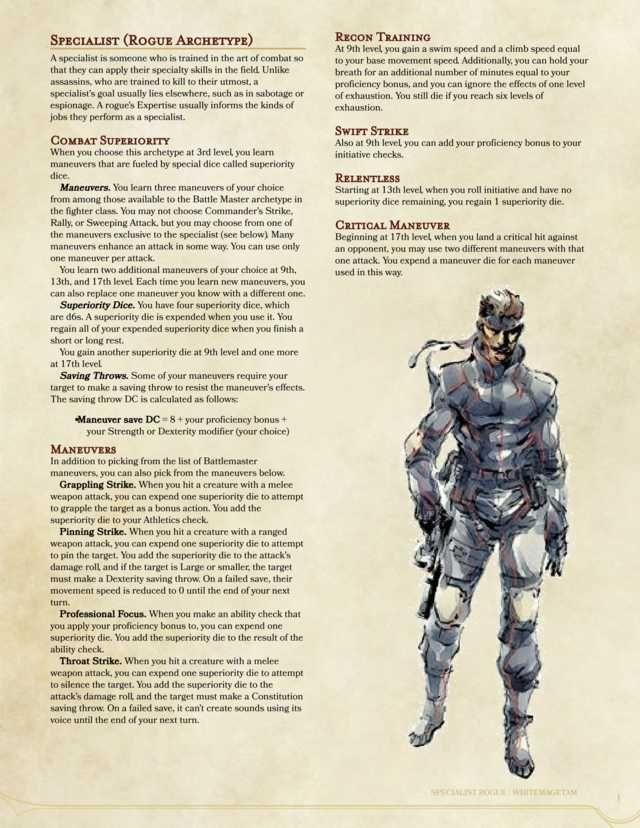 Specialist 5e Rogue Archetype Rogue Archetypes Dungeons And Dragons Classes Dungeons And Dragons Homebrew