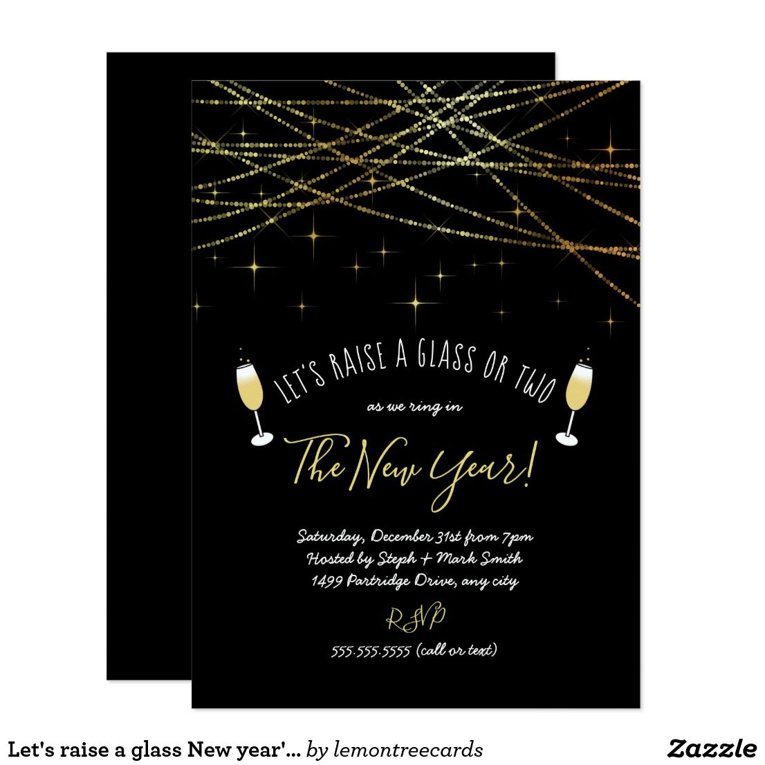 Let S Raise A Glass New Year S Eve Party Invite Zazzle Com Party Invite Template New Years Eve Invitations Eve Parties