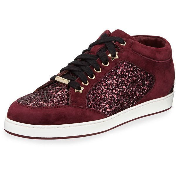 12aa9fec61a Jimmy Choo Miami Glitter Low-Top Sneaker ( 595) ❤ liked on Polyvore  featuring shoes
