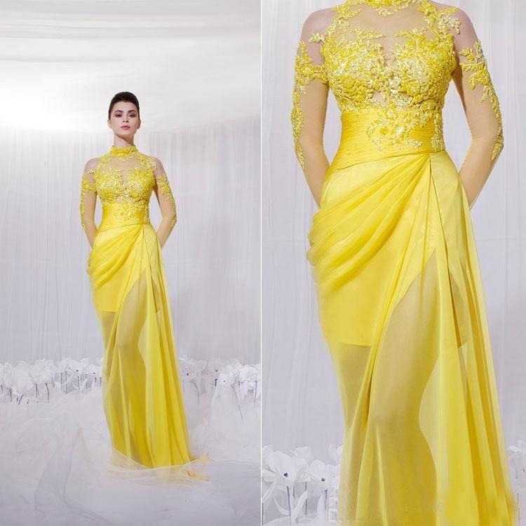 Newest Yellow Long Sleeves Evening Dresses 2015 Sexy High ...