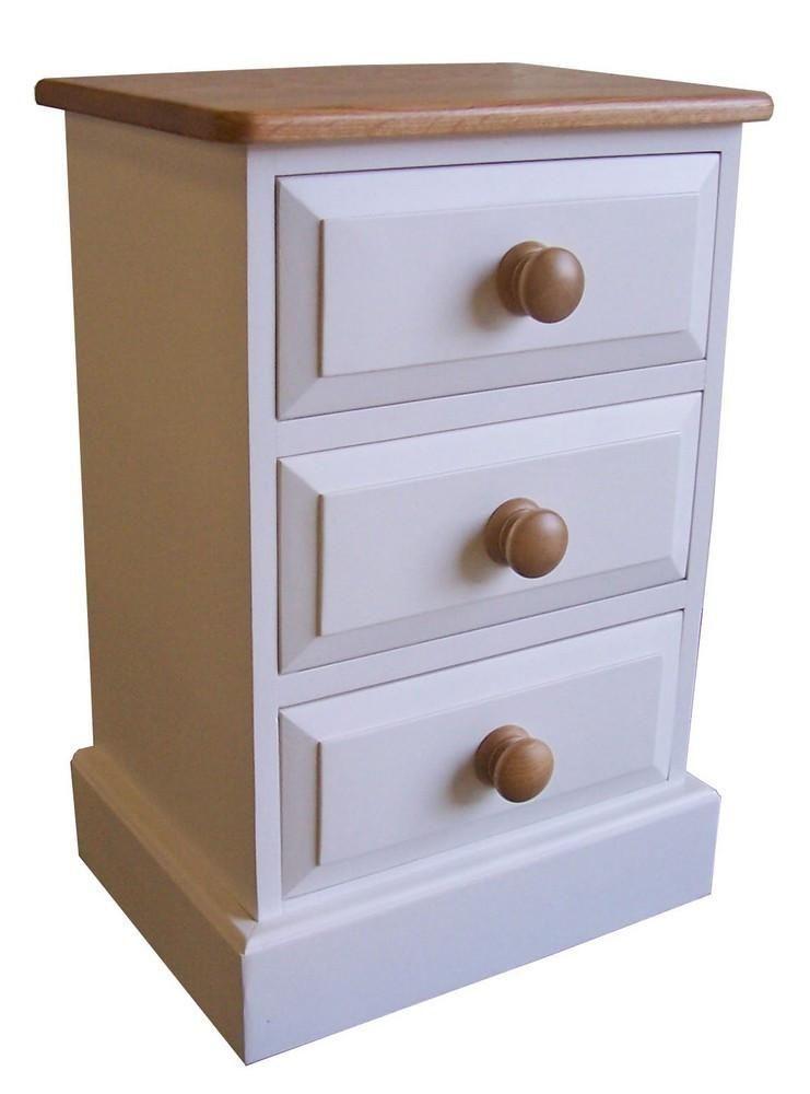 Solid Pine 3 Drawer Bedside Cabinet
