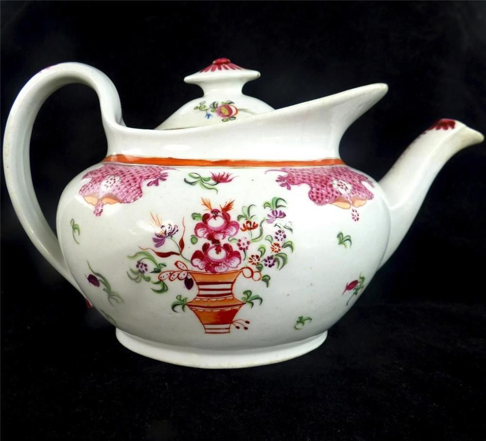 Antique Georgian Newhall Porcelain Teapot Pattern 541 Flower Basket Ao Pottery Porcelain Glass Date Lined Cerami Tea Pots Porcelain Teapot Flower Tea