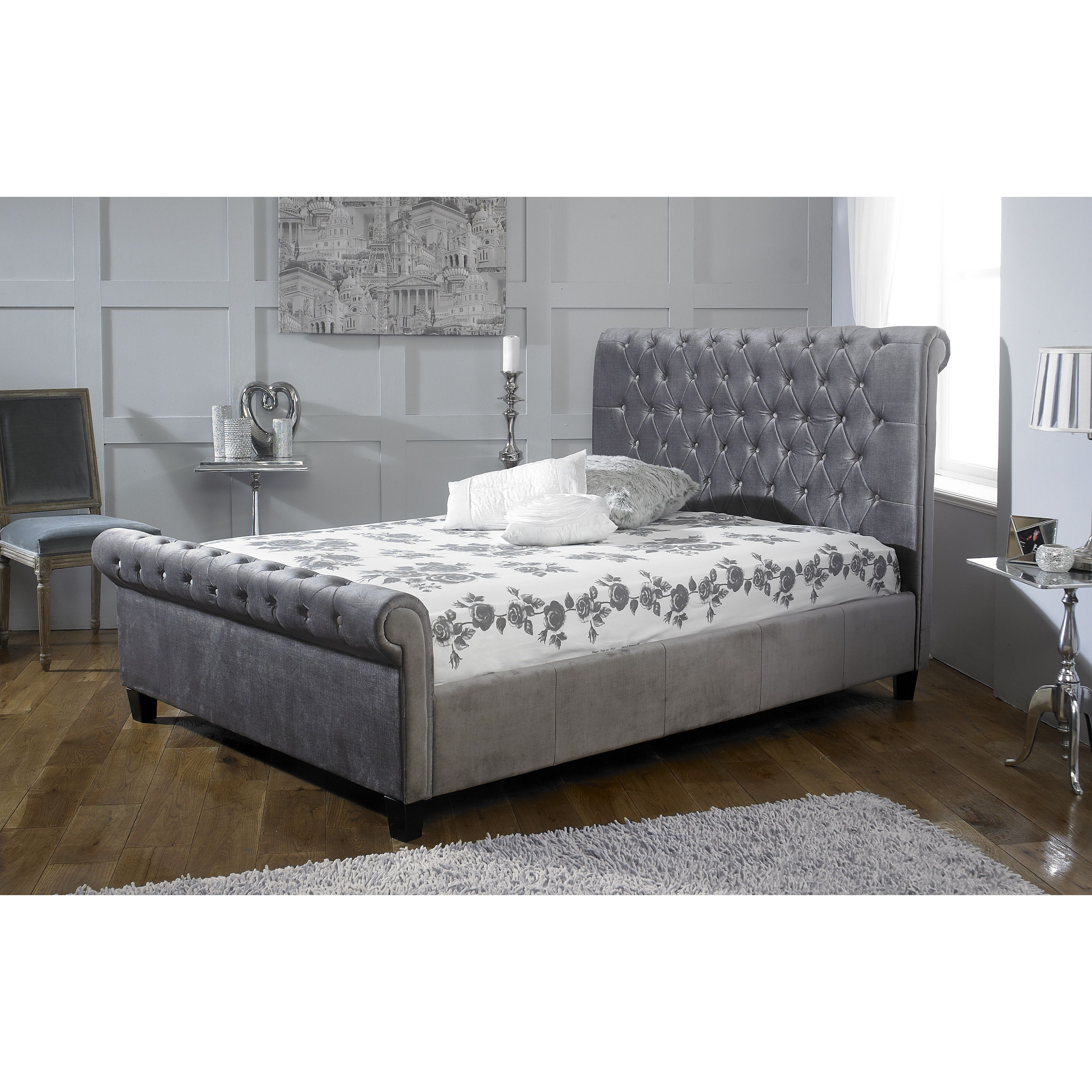 bed glam home refined house sleigh grayson sutton upholstered