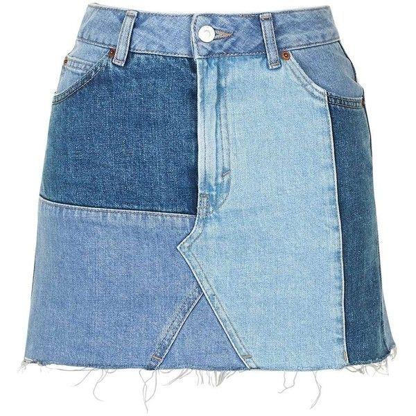 3cbd9b0b335464 TopShop Moto Denim Patch Work Pelmet ($60) ❤ liked on Polyvore featuring  skirts, blue skirt, denim skirt, zipper skirt, topshop skirts and blue denim  skirt