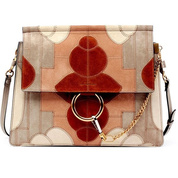 Chloe Faye Suede Patchwork Shoulder Bag (£1,950) ❤ liked on Polyvore featuring bags, handbags, shoulder bags, borse, grey, grey handbags, chloe purses, grey purse, suede shoulder bag and gray purse