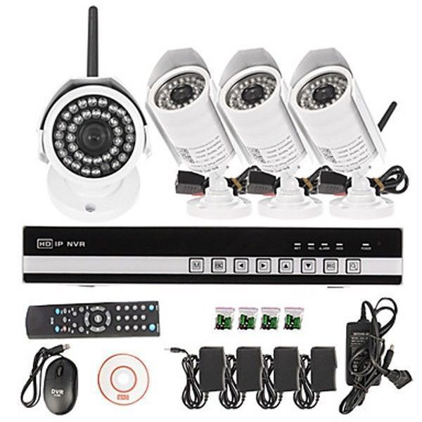 Hd 4ch 720p Wireless Wifi Ip Camera Security System Nvr Kit Outdoor Nightvision Ad Ip Security Camera Security Camera System