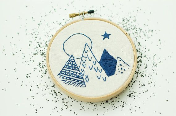 """Mountains At Dusk. Hand Embroidered Mountains. Hand Stitched Mountains with Moon. 4"""" Embroidery Hoop Art. Hand Stitched Landscape."""