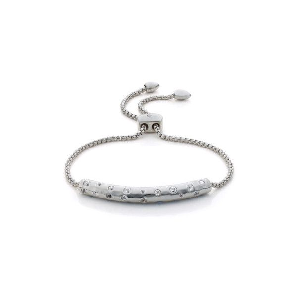 Monica Vinader Esencia Scatter Chain Bracelet - White Topaz ($280) ❤ liked on Polyvore featuring jewelry, bracelets, white, white topaz jewelry, polish jewelry, chains jewelry, white jewelry and adjustable bangle