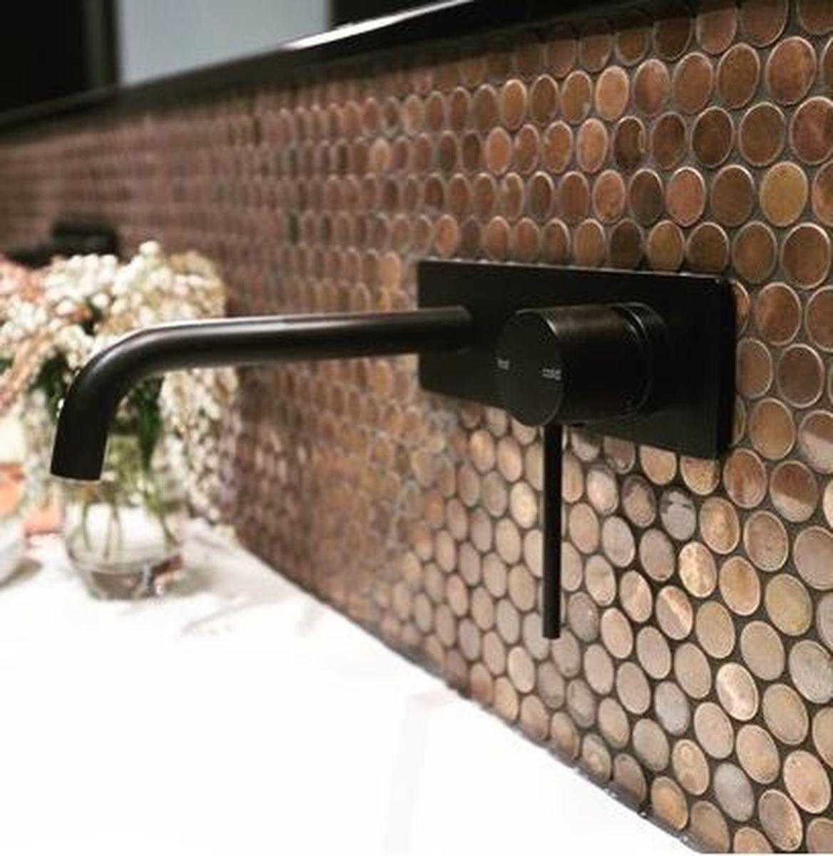 Copper Mosaics Shower Accent Tile Copper Mosaic Penny Round Tile Bathroom