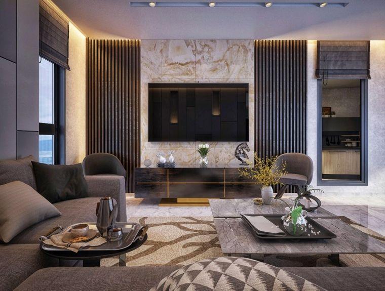 Pareti soggiorno con pannelli decorativi e arredamento con divani e ...