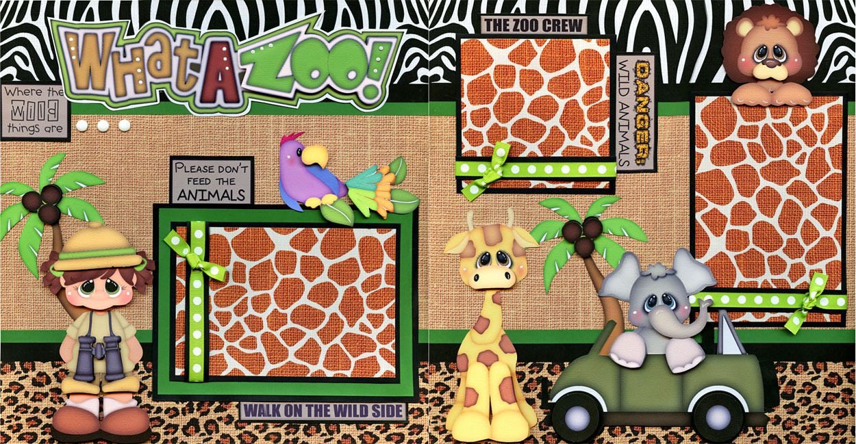 Zoo animal scrapbook ideas - 2 12x12 Premade Scrapbook Pages What A Zoo Girl Adorable