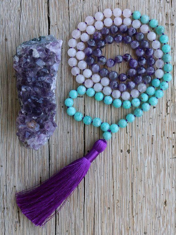 Amethyst Amazonite Rose Quartz Mala Beads Love By Jivala