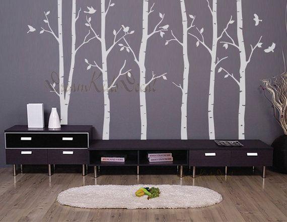 Birke Bäume Natur-Wandtattoo, Vinyl Wand Aufkleber, Natur-Wand - natur wand im wohnzimmer