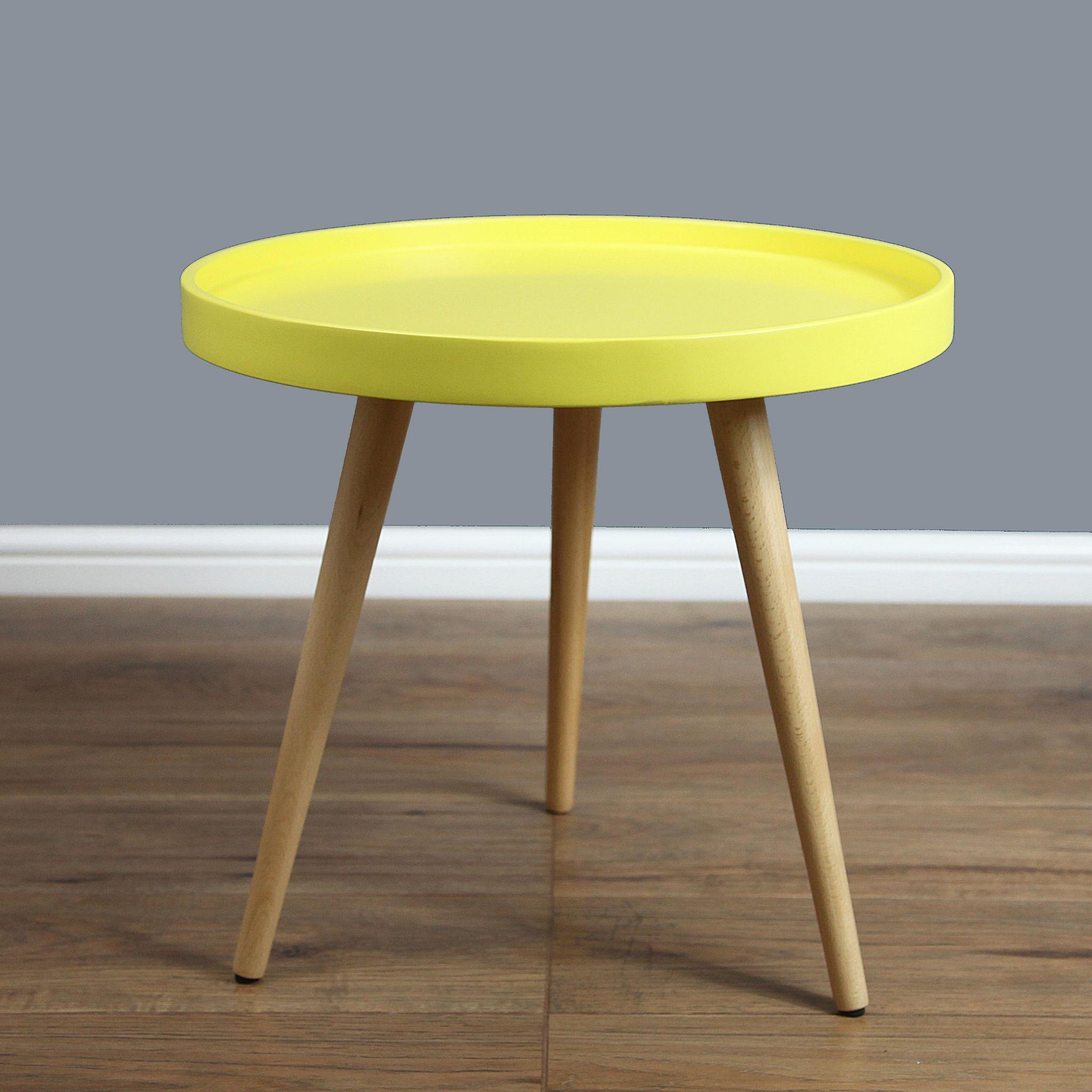 Mmilo Capri Round Tray Table In 50cm   Yellow Matt