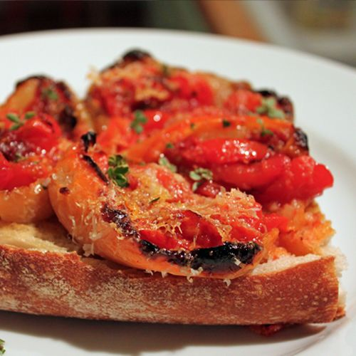 Roasted Pepper and Tomato Bruschetta - with the tomatoes roasted IN the peppers....genius!