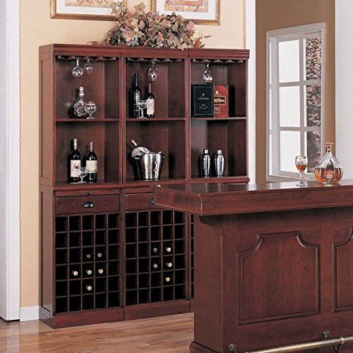 Design And Plan To Build Your Own Custom Home Bar U003du003du003eu003e In The Picture:  Coaster Traditional Cherry Finish Bar Unit With Wine Rack If Youu0027re Going  To B