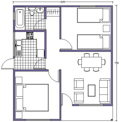 plano de casa 42m2 | Planos casas pequeñas em 2019 ...