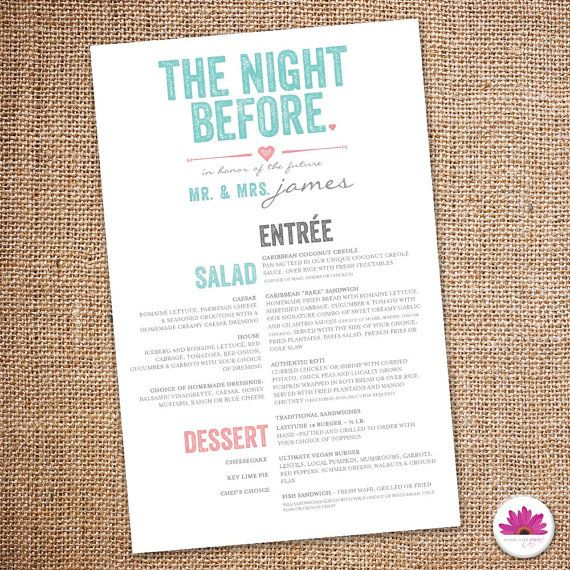 The Night Before Rehearsal Dinner Menu Digital Events With - formal dinner menu template