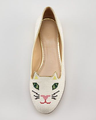 Charlotte Olympia Kitty Cat-Embroidered Slipper, White - Neiman Marcus