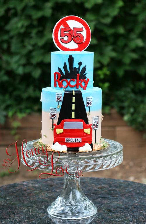 I cant drive 55 birthday cake A fun car cake with Dallas skyline