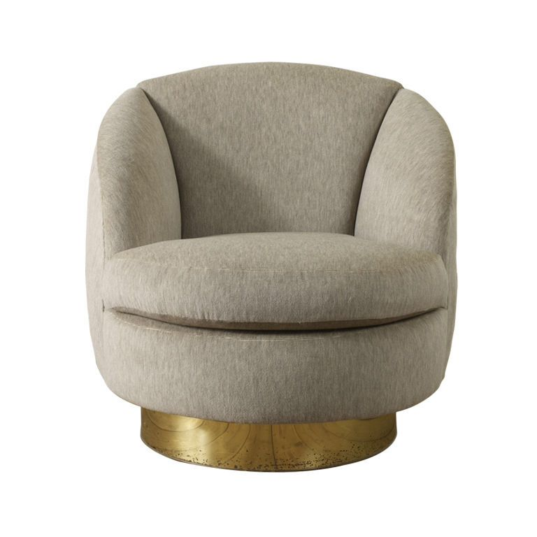 Good Milo Baughman   Tub Chair On Swivel Brass Bass,