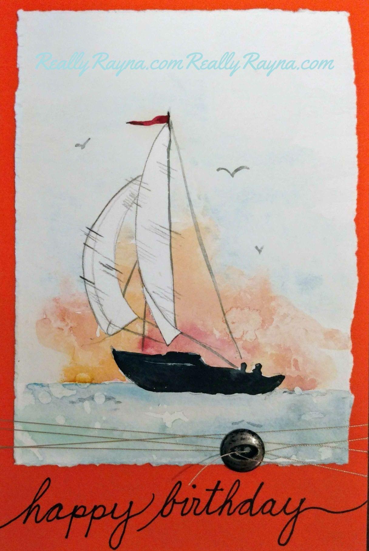 Watercolor boat Happy Birthday card  Birthday card drawing