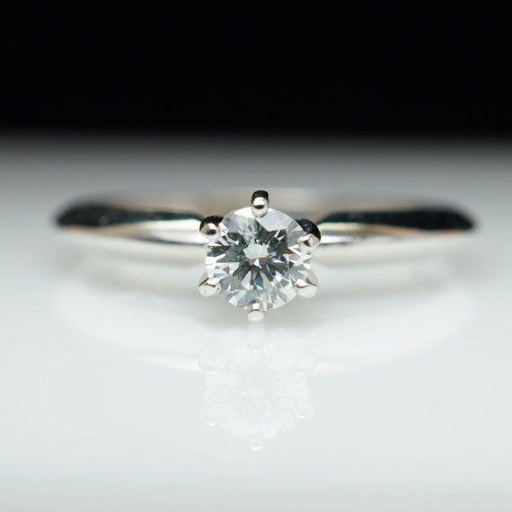 Vintage Estate 24ct Round Diamond Engagement Ring 14k White Gold