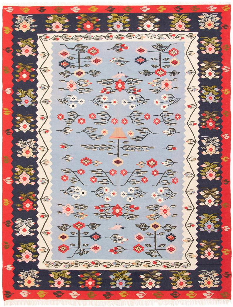 Reina 8 6 X 11 6 Vintage Turkish Etsy In 2020 Flat Woven Rug Red Area Rug Beige Area Rugs