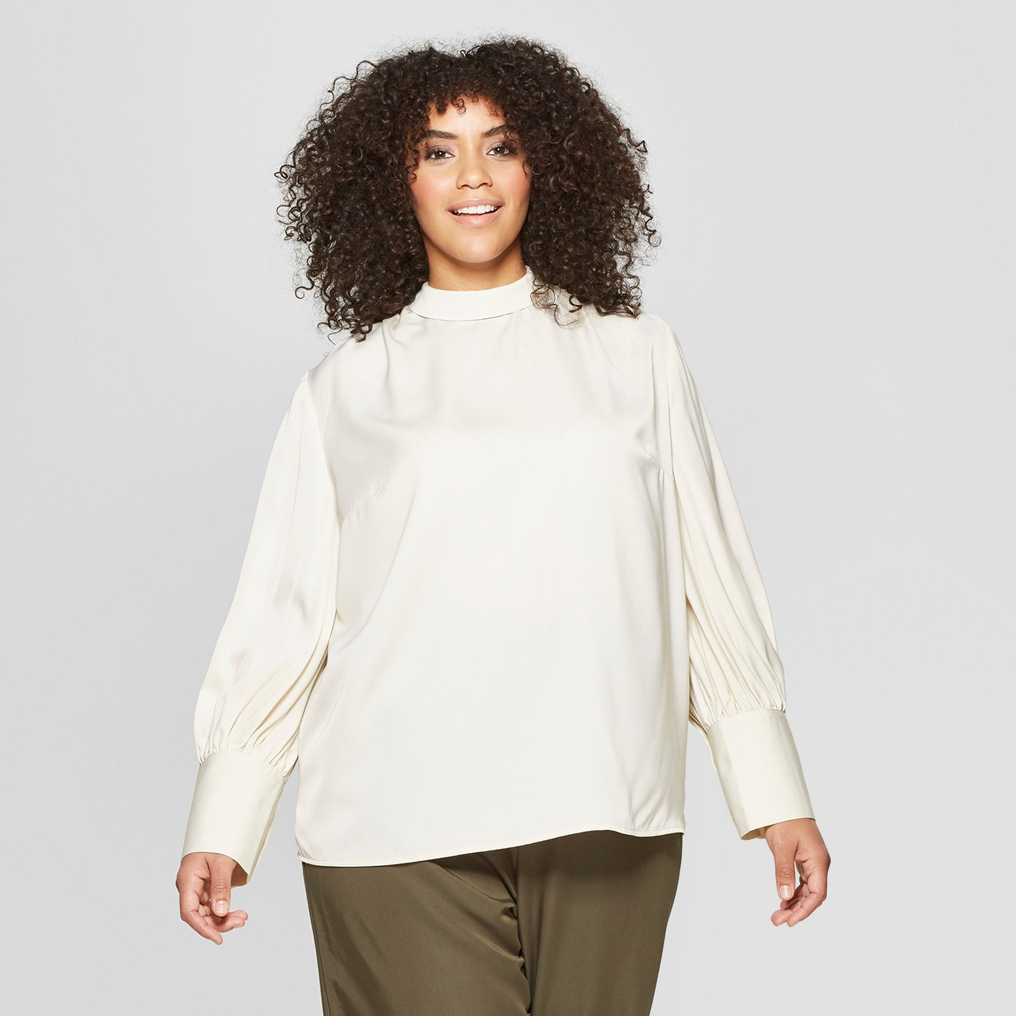 f50542294 Women's Plus Size Long Sleeve Relaxed Silky Blouse - Who What Wear ...