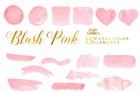Blush Pink Watercolor Splash Clipart Pink Ombre Background For