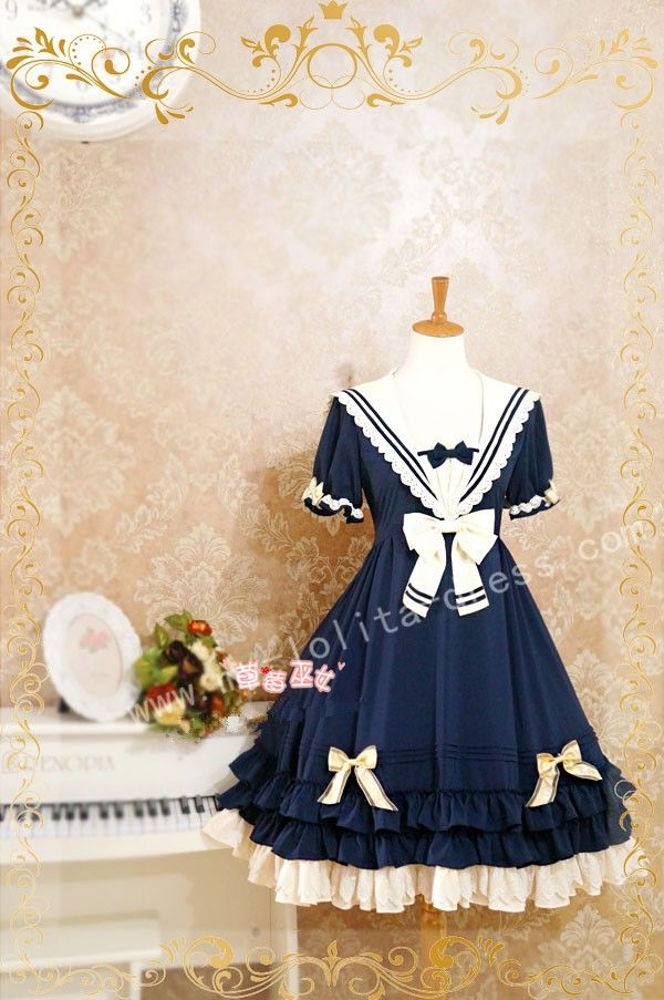 Navy Blue Lolita OP Dress Sailor College Style