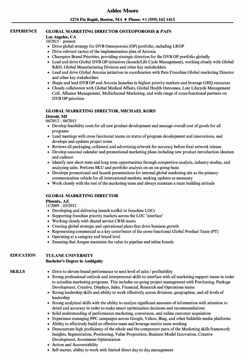 25 Director Of Marketing Resume in 2020 Sales resume