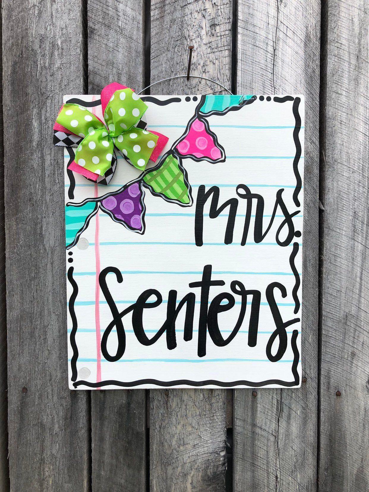 Teacher Appreciation Notebook Paper Door Hanger 1000 In 2020 Teacher Door Hangers Door Hangers Teacher Name Signs