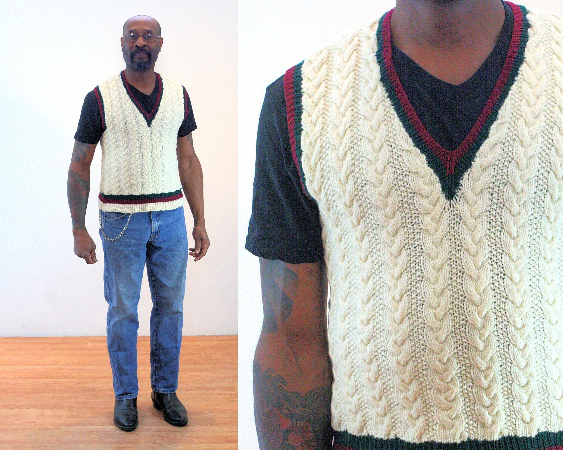 70s Sweater Vest S Men S Vintage Preppy Wool Cream Cable Knit Pullover V Neck Red Green Trim Sleeveless Jumper Vintage Men Sleeveless Jumper Knitted Pullover