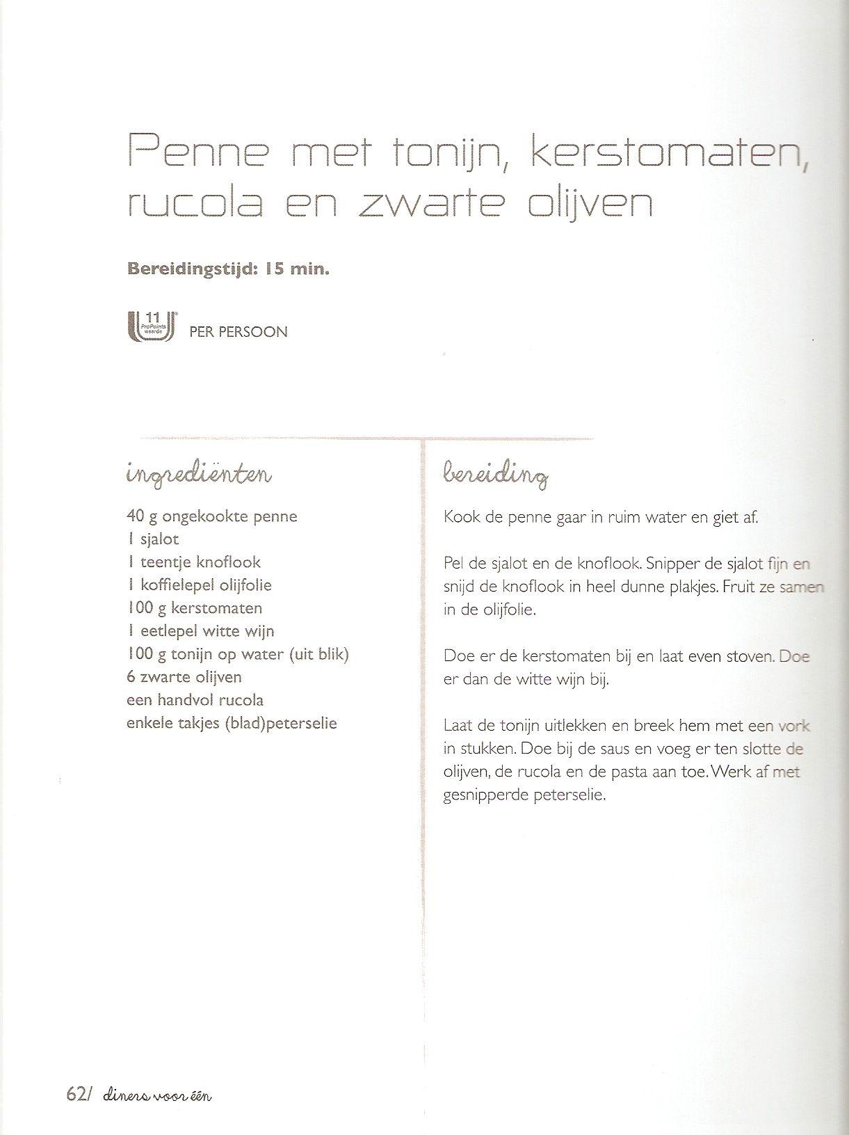 Weight Watchers - Penne met tonijn, kerstomaten, rucola en zwarte olijven